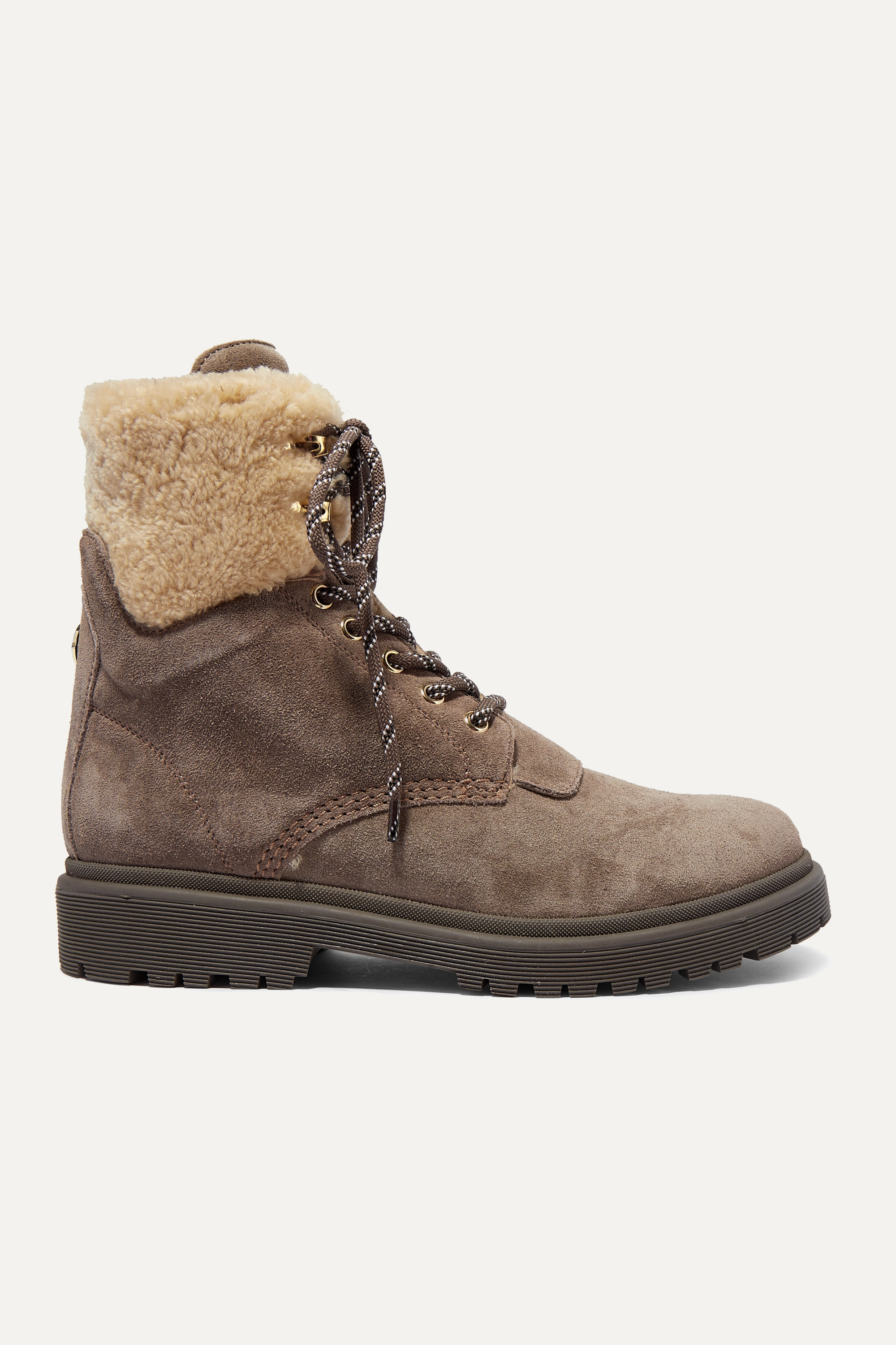 Moncler Patty shearling-trimmed suede ankle boots