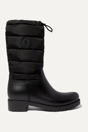 Ginette quilted nylon and rubber rain boots