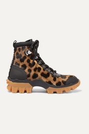 Moncler Helis leather-trimmed leopard-print calf hair ankle boots