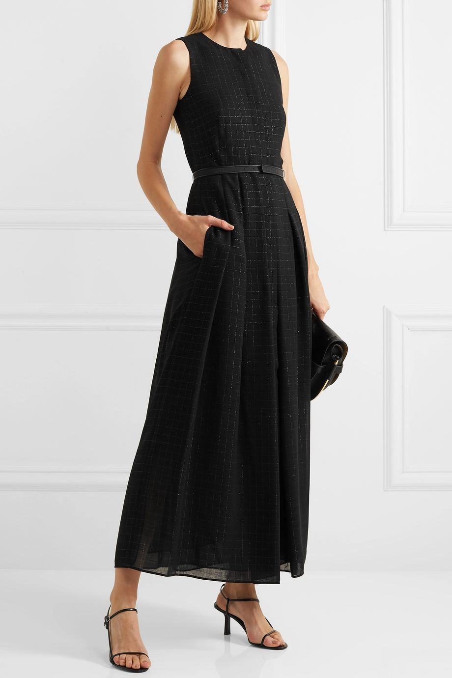 Akris Belted metallic checked wool-blend mousseline gown