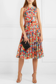 Belted printed cotton midi dress