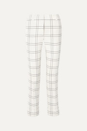 Maxima checked stretch wool and cotton-blend crepe straight-leg pants