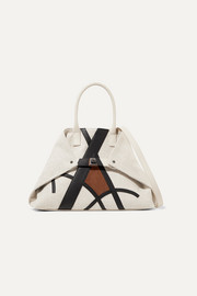 Akris Ai small suede and textured leather-trimmed canvas tote