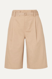 Belted cotton-blend twill shorts