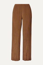 Crinkled crepe de chine straight-leg pants