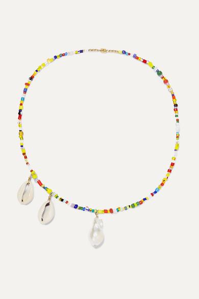 ELIOU | Eliou - Paxi Bead, Pearl And Shell Necklace - Yellow | Goxip