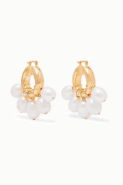 Kavala gold-plated pearl earrings