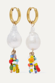 Lucca gold-plated, pearl and bead earrings