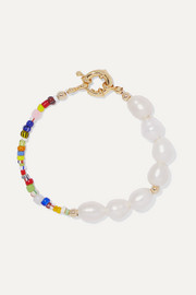 Thao gold-plated, pearl and bead bracelet