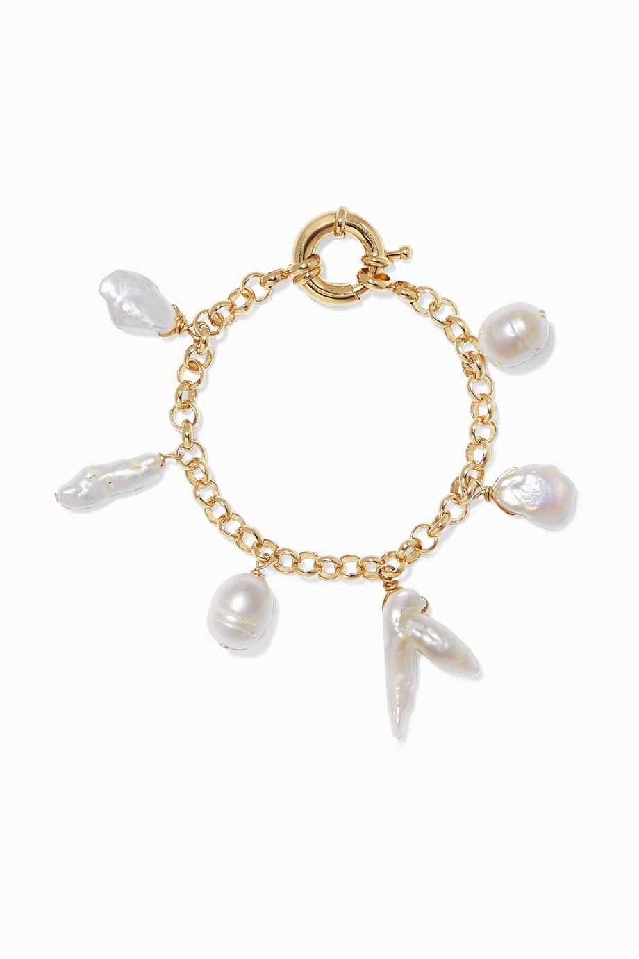 éliou Deia vergoldetes Armband mit Perlen