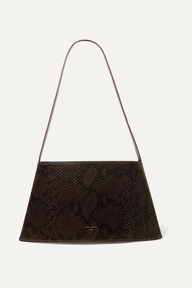 Curve Snake Effect Leather Shoulder Bag by Low Classic