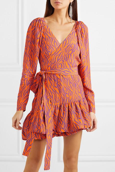 Zebra-print twill wrap mini dress