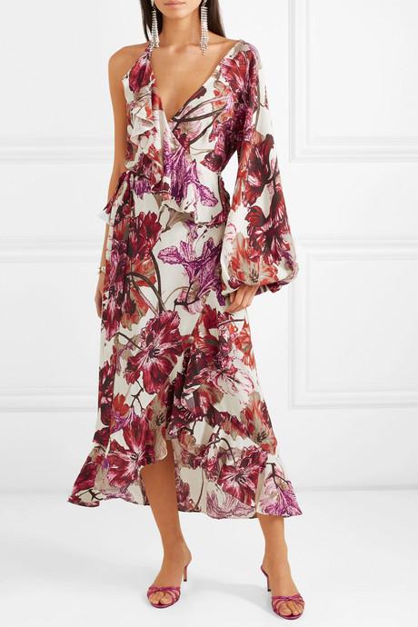 Asymmetric ruffled floral-print crepe wrap dress