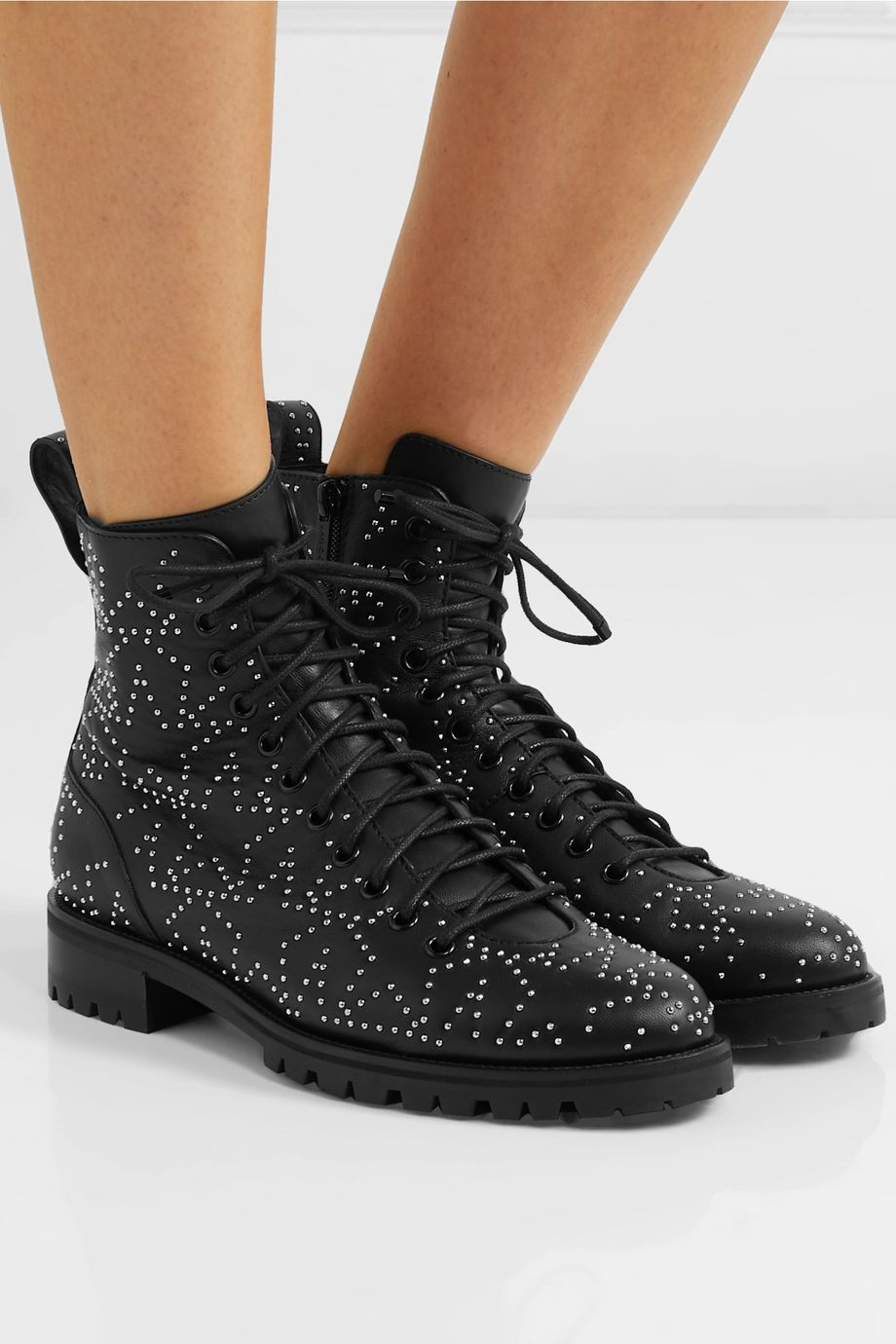 Jimmy Choo Cruz studded textured-leather ankle boots