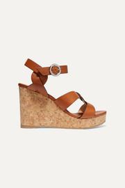 지미 추 Jimmy Choo Aleili 100 leather wedge sandals