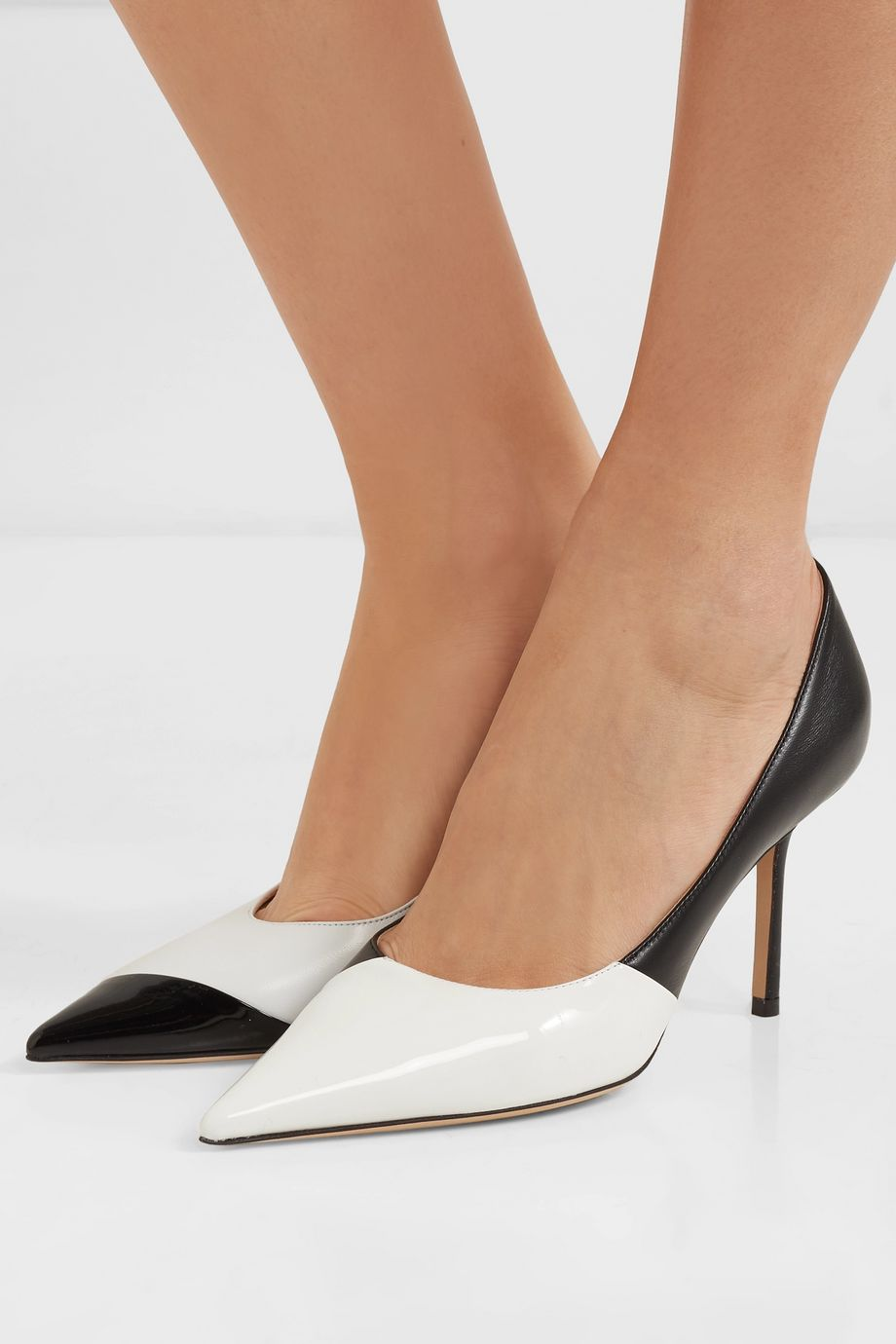 Jimmy Choo Love 85 mismatched two-tone matte and patent-leather pumps