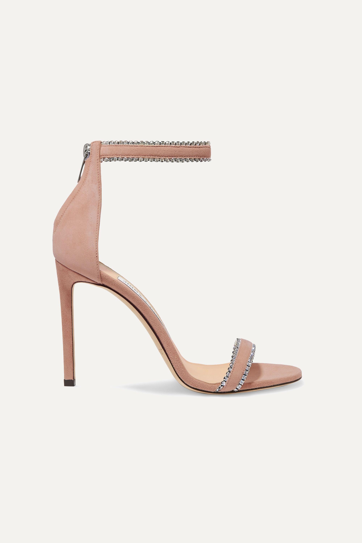 Jimmy Choo Dochas 100 crystal-embellished suede sandals