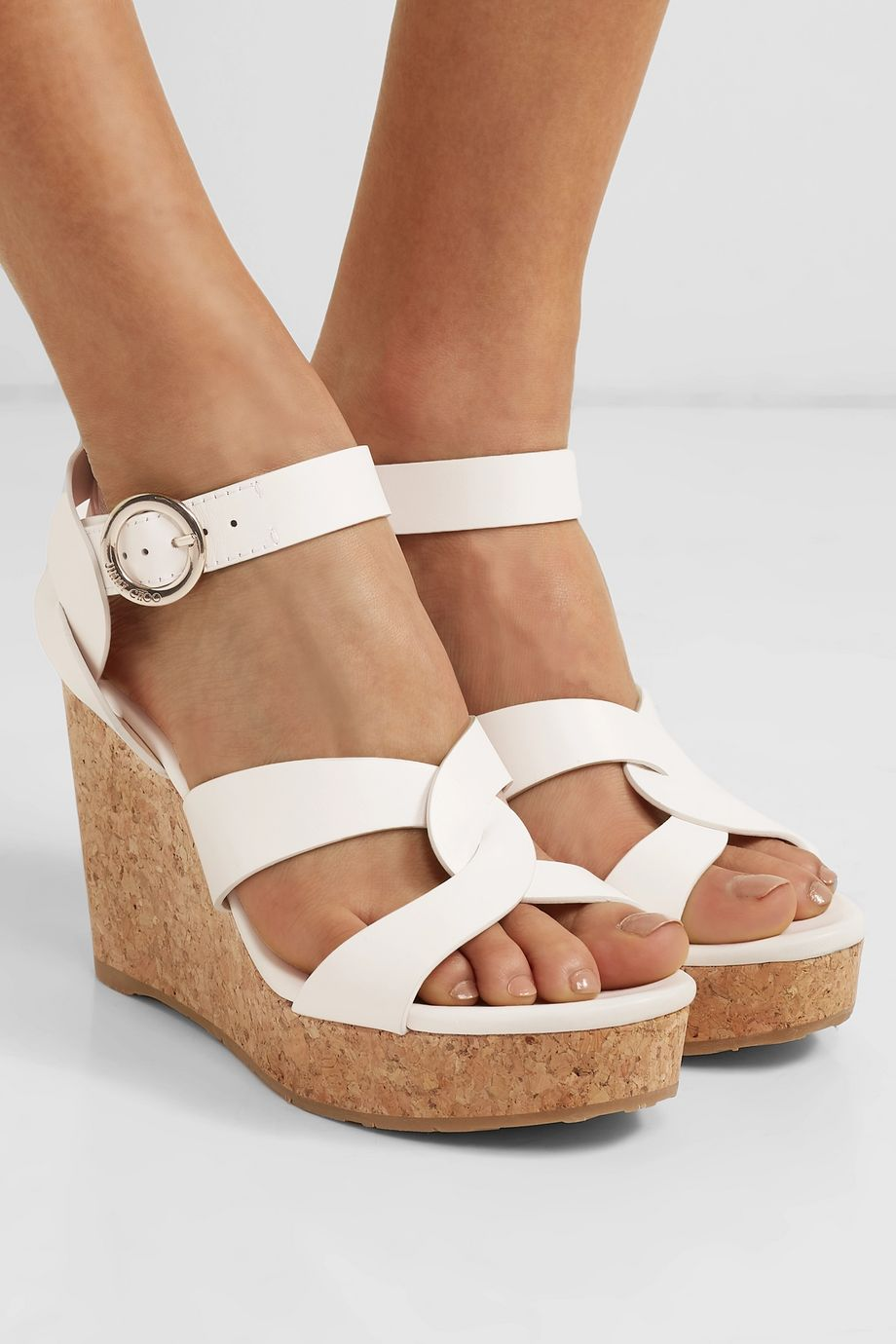 Jimmy Choo Aleili 100 leather wedge sandals