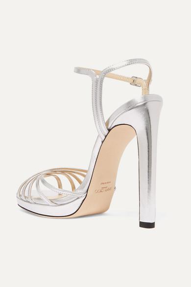 Jimmy Choo | Lilah 120 metallic leather platform sandals