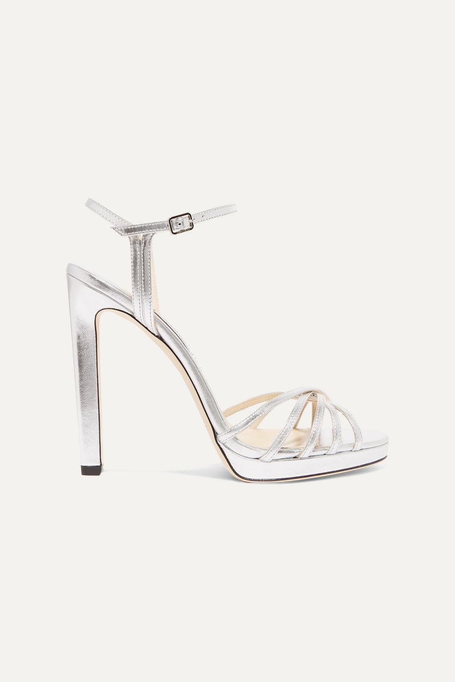 Jimmy Choo Lilah 120 metallic leather platform sandals