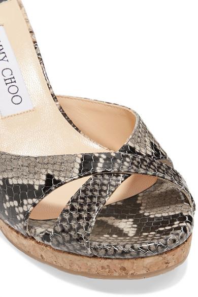 Jimmy Choo Sandals Almer 80 snake-effect leather wedge sandals