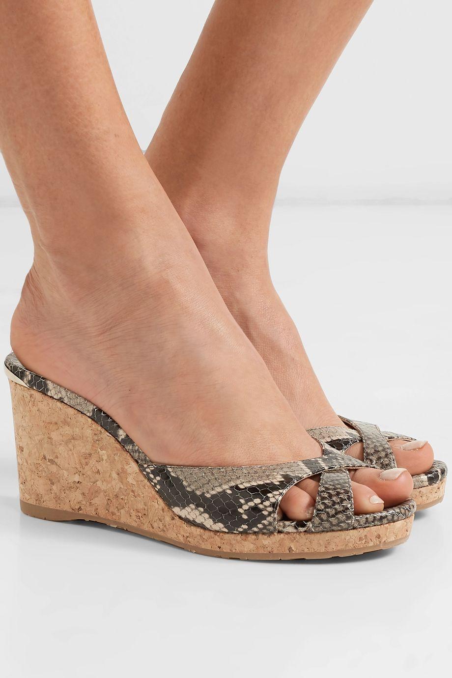 Jimmy Choo Almer 80 snake-effect leather wedge sandals