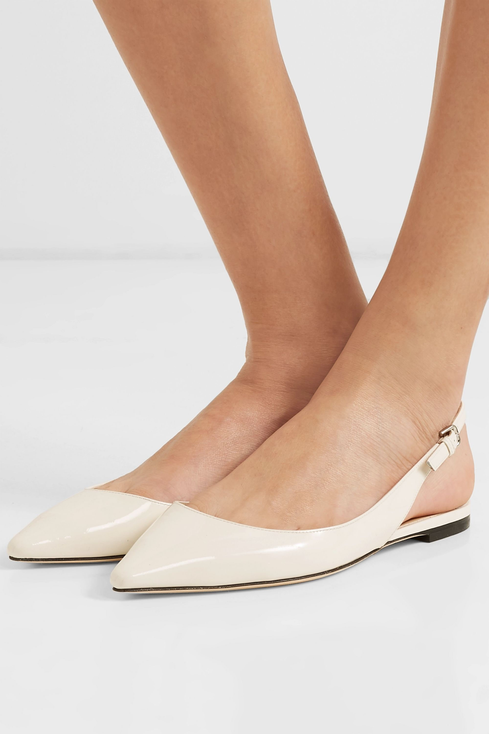 White Erin patent-leather slingback
