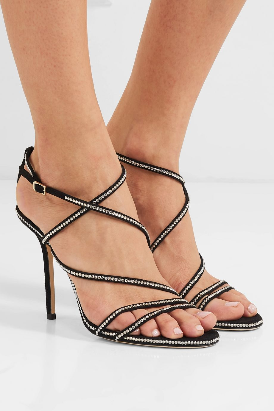 Jimmy Choo Dudette 100 crystal-embellished suede sandals