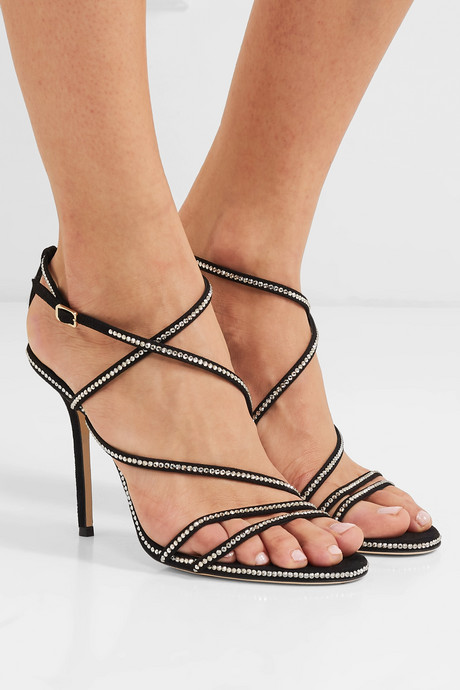 Dudette 100 crystal-embellished suede sandals