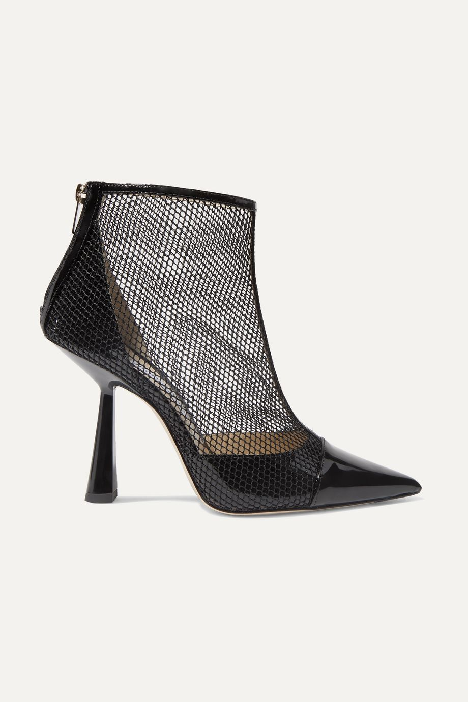 Jimmy Choo Kix 100 fishnet and patent-leather ankle boots