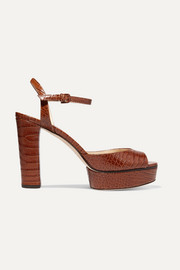Jimmy Choo Peachy 105 croc-effect leather platform sandals