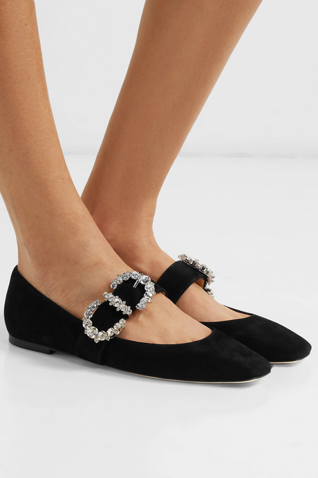 Goodwin crystal-embellished suede Mary Jane ballet flats