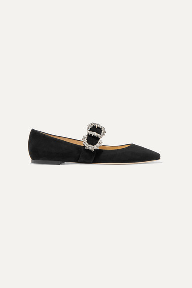 Jimmy Choo Shoes Goodwin crystal-embellished suede Mary Jane ballet flats