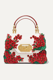 Dolce & Gabbana Portofino Welcome embellished smooth and lizard-effect leather tote