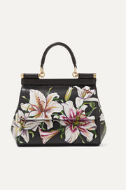 Dolce & Gabbana Sicily floral-print textured-leather tote