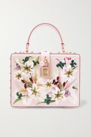 Lilium embellished floral-print textured-leather tote