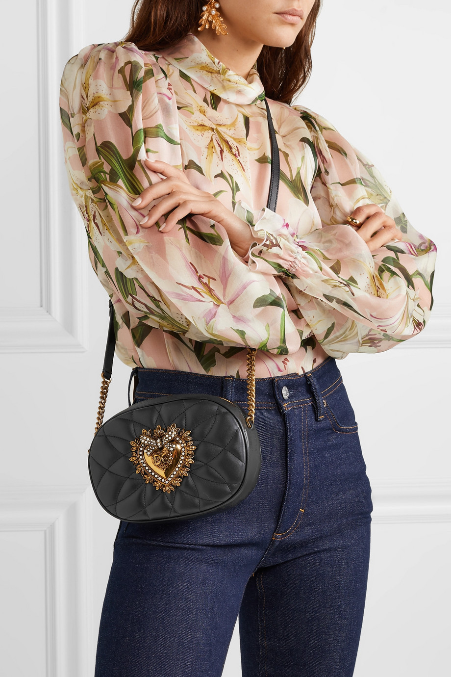 Dolce & Gabbana Devotion embellished quilted leather shoulder bag