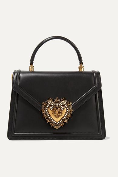 Dolce & Gabbana Devotion Medium Embellished Leather Tote In Black