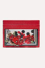Dolce & Gabbana Portofino embellished printed textured-leather cardholder