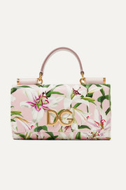 Dolce & Gabbana Von floral-print textured-leather shoulder bag