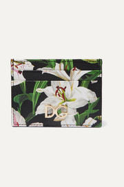 Dolce & Gabbana Lilium floral-print textured-leather cardholder