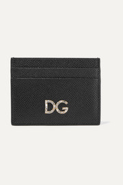 Dolce & Gabbana Crystal-embellished textured-leather cardholder