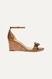 Vicky knotted leather wedge sandals