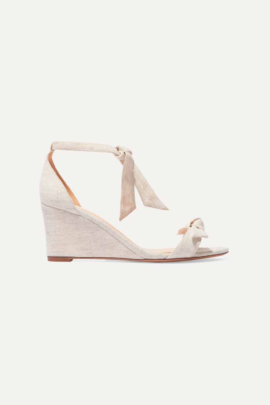 Alexandre Birman Clarita bow-embellished canvas espadrille wedge sandals