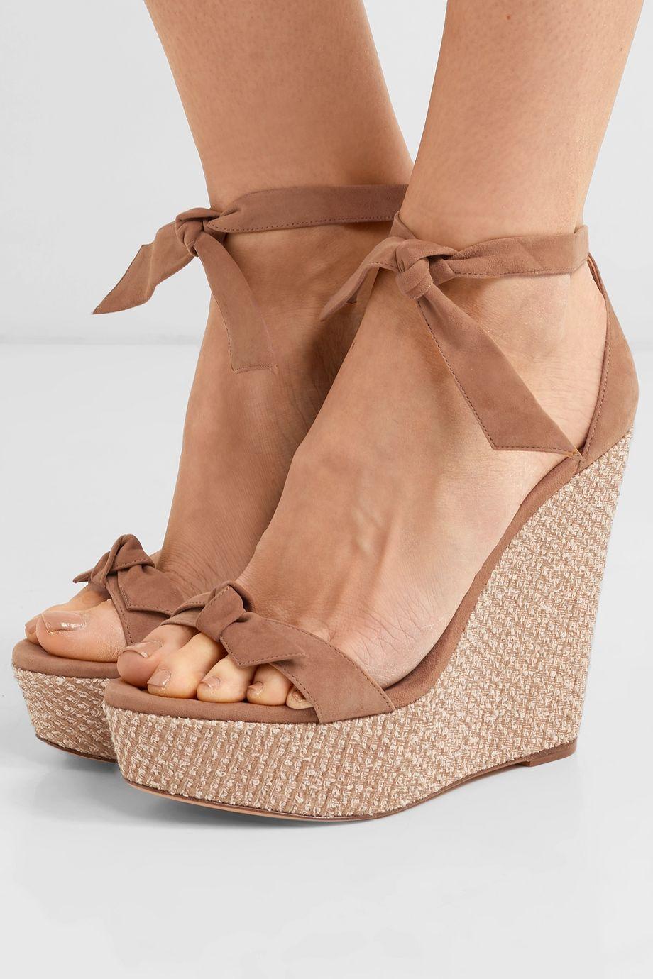 Alexandre Birman Clarita bow-embellished suede wedge sandals