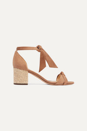 Alexandre Birman Clarita bow-embellished suede and bouclé sandals