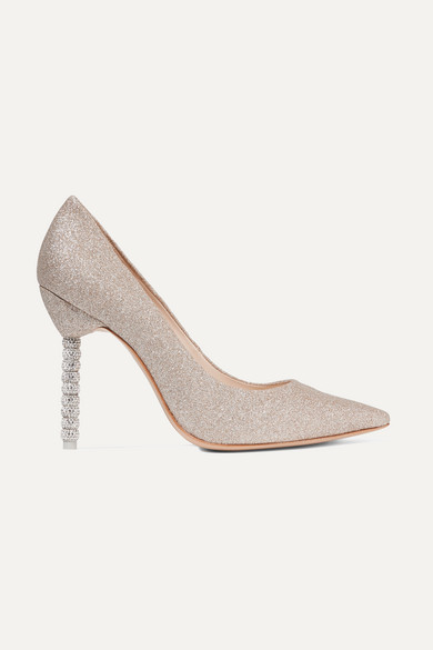 Coco Crystal Embellished Glittered Leather Pumps by Sophia Webster