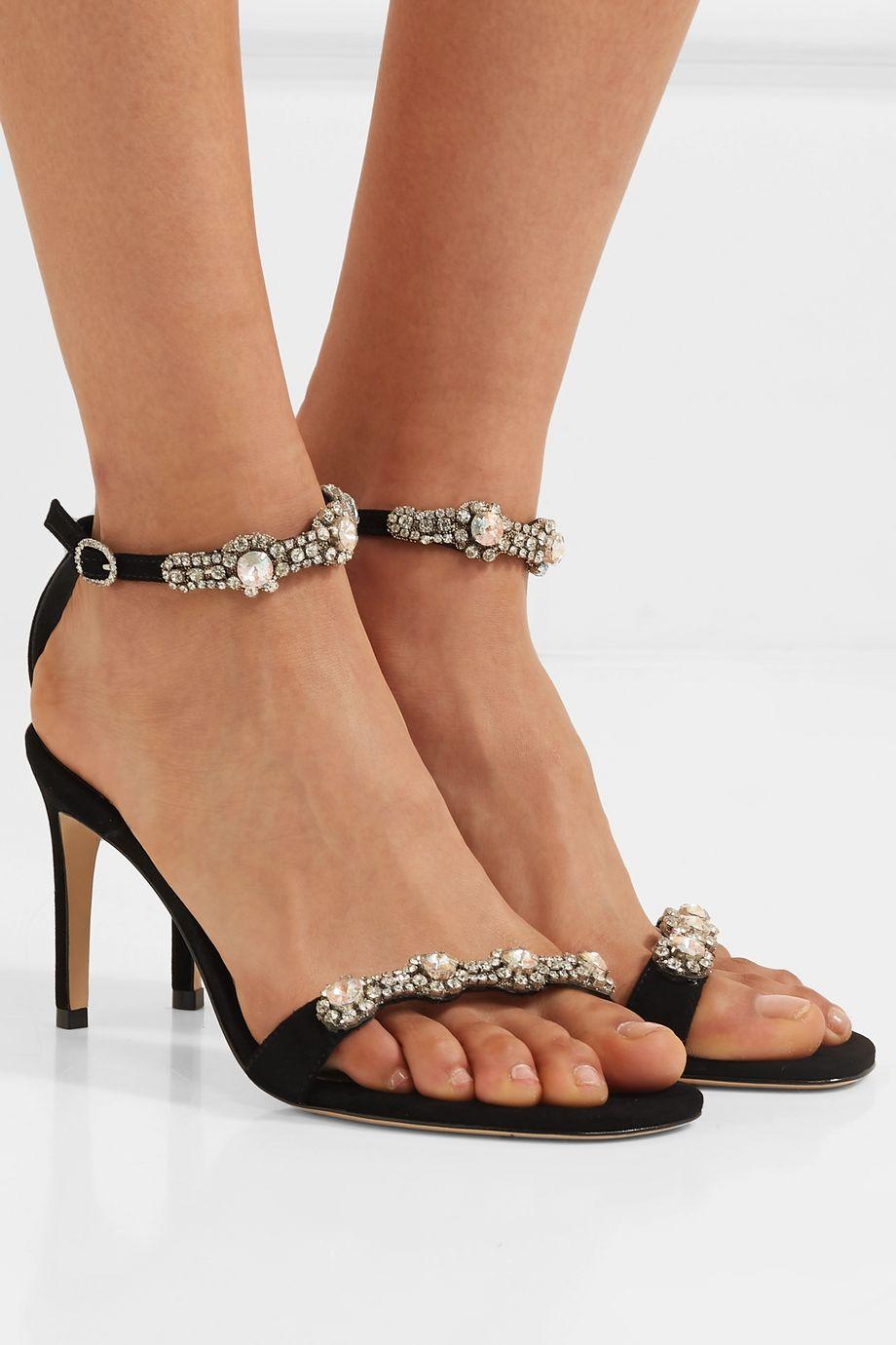 Sophia Webster Aaliyah crystal-embellished suede sandals