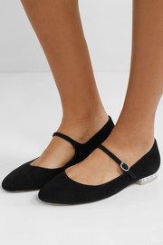 Toni crystal and faux pearl-embellished suede Mary Jane ballet flats