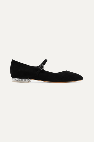 cfc8d33f0 Sophia Webster | Toni crystal and faux pearl-embellished suede Mary Jane ballet  flats | NET-A-PORTER.COM